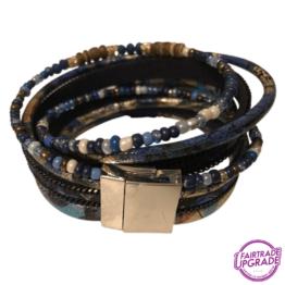 Wikkelarmband blauw veer