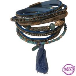 Wikkelarmband blauw met schelp FairtradeUpgrade