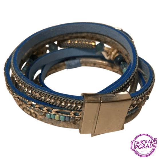 Wikkelarmband blauw met schelp