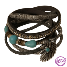 wikkelarmband grijs indiaan FairtradeUpgrade