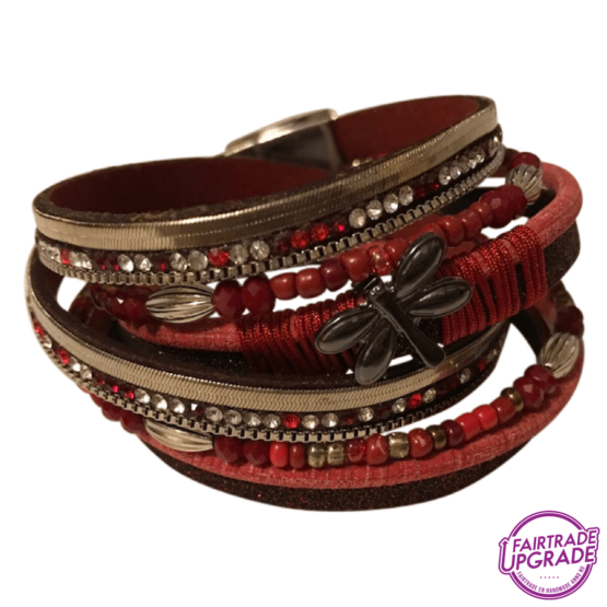 wikkelarmband rood met vlinder FairtradeUpgrade