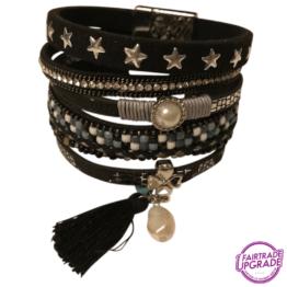 Brede armband zwart met kunstparel FairtradeUpgrade