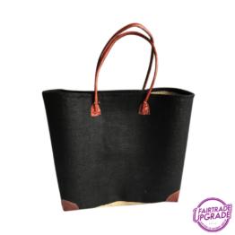 zwarte rieten gestoffeerde tas