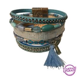 brede armband blauw met kwastje