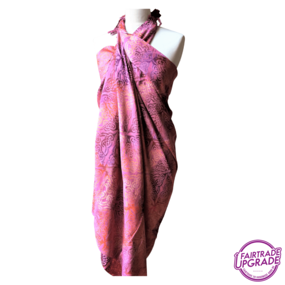 Gebatikte Pareo of Sarong XL Celtic Roze
