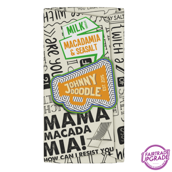 Milk Macadamia and Seasalt Johnny Doodle Chocolade