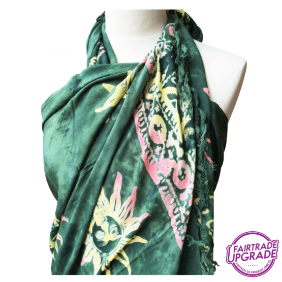 Gebatikte Sarong XL Beach Dark Green Sun