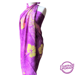 Gebatikte Sarong XL Beach Purple Hibicus