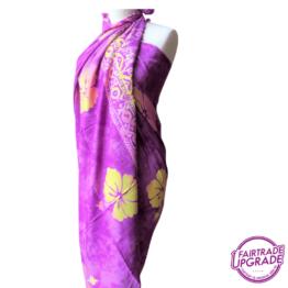 Gebatikte Sarong XL Beach Purple Hibicus