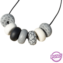 Ketting Rondelle Black-White-Silver 7