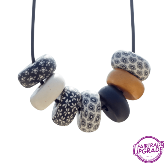 Ketting Rondelle Black-White Contrast