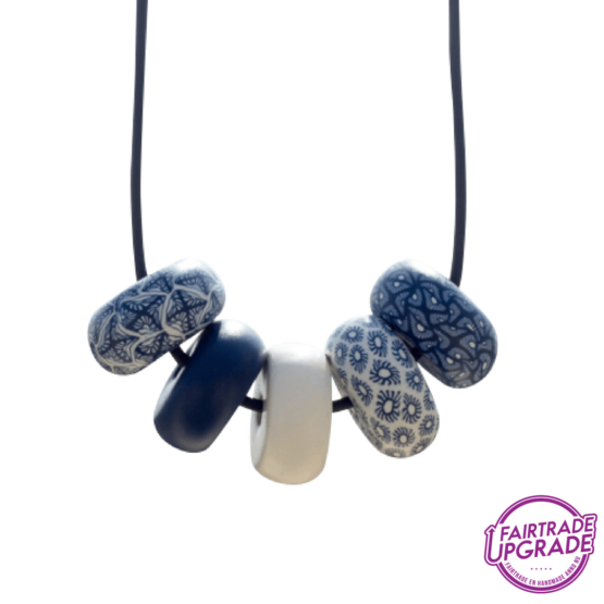 Ketting Rondelle Navy-White Dark