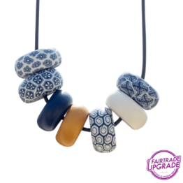 Ketting Rondelle Navy-White Contrast
