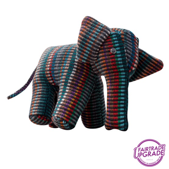 Handgeweven Knuffel Olifant Recycle Donker