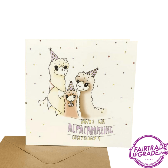 Alpaca Wenskaart Have an Alpacamazing birthday FairtradeUpgrade