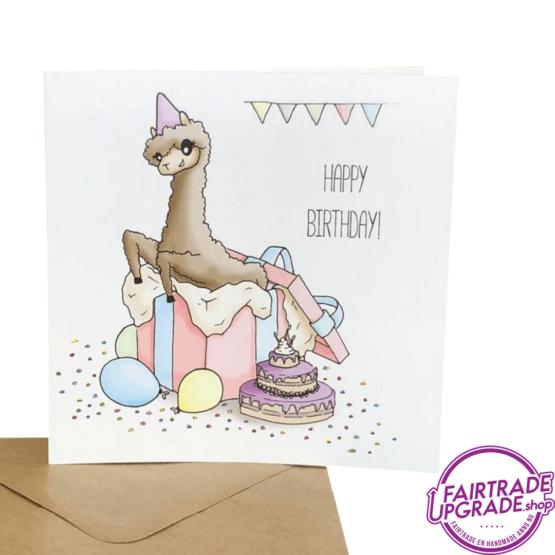Alpaca Wenskaart Happy Birthday