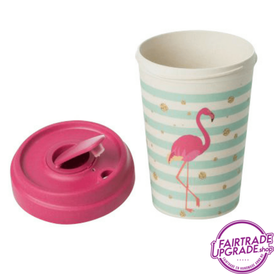 Bamboe Reisbeker Flamingo