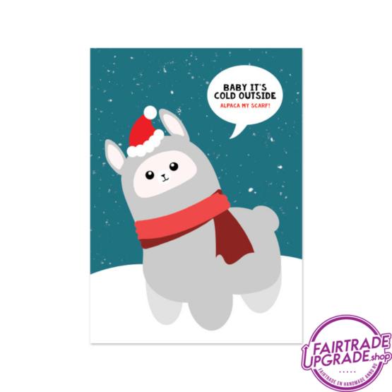 Kerstkaart voor kinderen Alpaca my scarf FairtradeUpgrade