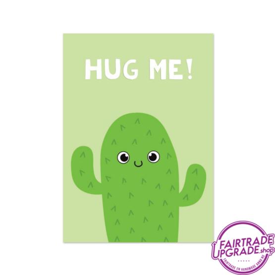 Vrolijke wenskaart Hug Me Cactus FairtradeUpgrade