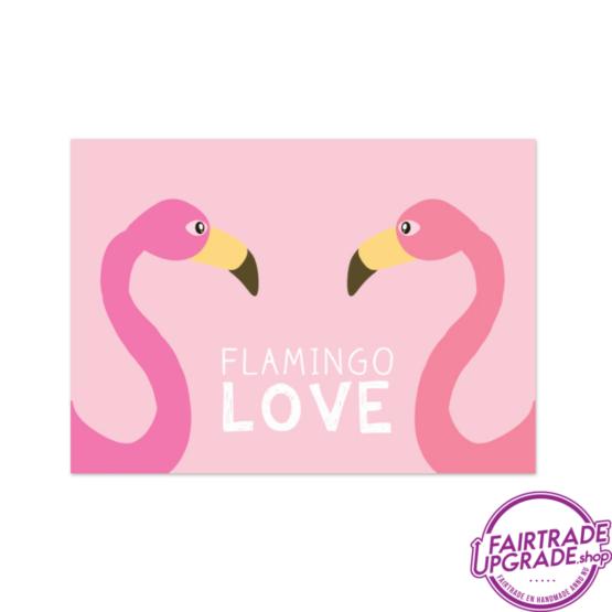 Vrolijke wenskaart Flamingo love FairtradeUpgrade