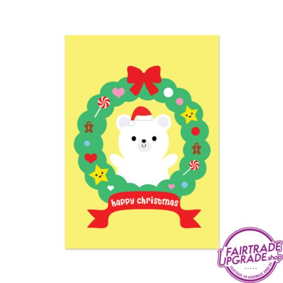 Kerstkaart voor kinderen Happy Christmas Bear FairtradeUpgrade