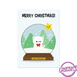 Kerstkaart voor kinderen snowglobe kitty FairtradeUpgrade