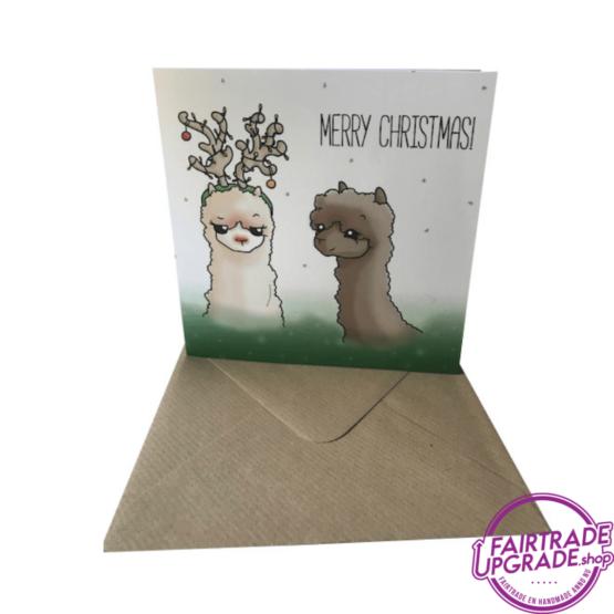 Alpaca Kerstkaart Alpaca Reindeer FairtradeUpgrade