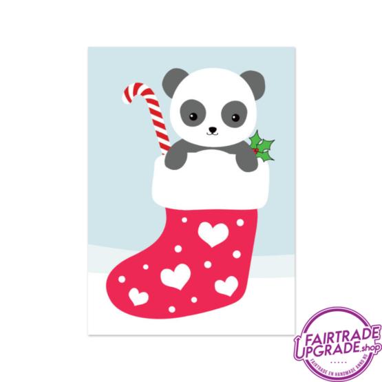 kerstkaart voor kinderen Panda in sock FairtradeUpgrade