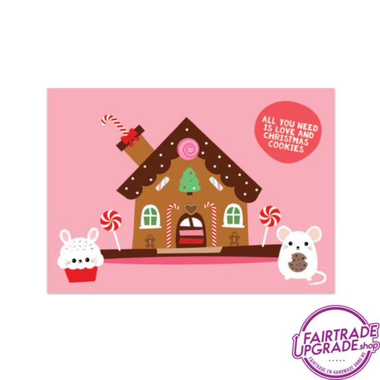 Kerstkaart voor kinderen Snoephuisje FairtradeUpgrade
