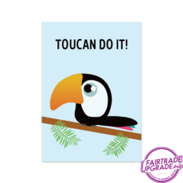 Vrolijke wenskaart Tukan do it FairtradeUpgrade