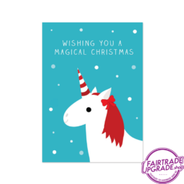 kerstkaart voor kinderen Unicorn Christmas FairtradeUpgrade