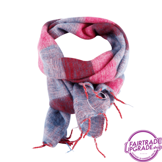 sjaal gestreept Fuchsia Blauw FairtradeUpgrade