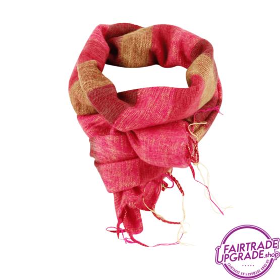 sjaal gestreept Okergeel Oranje Rood FairtradeUpgrade
