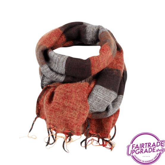 Sjaal gestreept Bruin Oranje Taupe FairtradeUpgrade