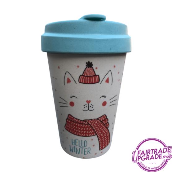 Bamboe Reisbeker Winter Kitty FairtradeUpgrade
