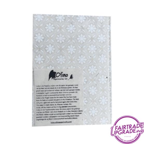 Notitieboek Beige Witte Bloem back FairtradeUpgrade