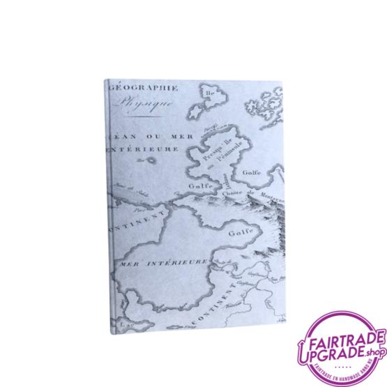 Notitieboekje grijs landkaart FairtradeUpgrade