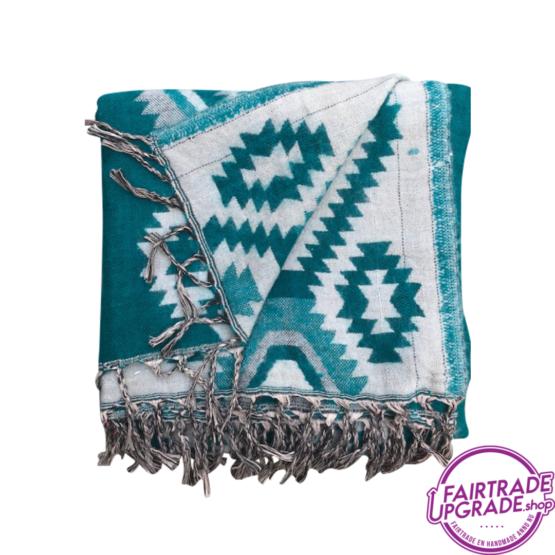 Sjaal Dulhan Turquoise met patroon FairtradeUpgrade