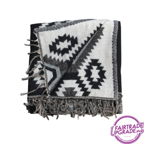 Sjaal Dulhan Zwart met patroon FairtradeUpgrade