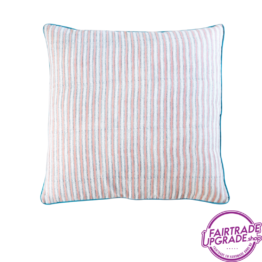 Kussen Funky stripes rosa en blue FairtradeUpgrade