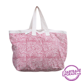 Shopper Strandtas floral raspberry pink FairtradeUpgrade