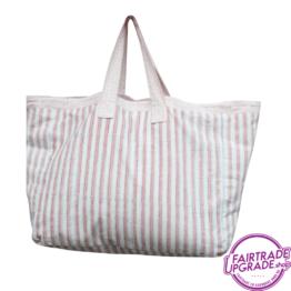 Shopper Strandtas funky stripes rosa FairtradeUpgrade